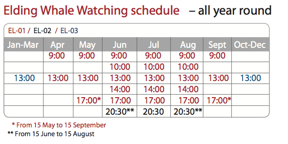 whale watching schedule 2012